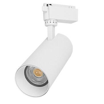 Μονοφασικό Bridgelux COB LED Λευκό Φωτιστικό Σποτ Ράγας 30W 230V 3600lm 30° Θερμό Λευκό 3000k GloboStar 93108