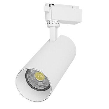 Μονοφασικό Bridgelux COB LED Λευκό Φωτιστικό Σποτ Ράγας 30W 230V 3900lm 30° Ψυχρό Λευκό 6000k GloboStar 93110