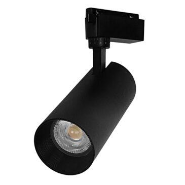 Μονοφασικό Bridgelux COB LED Μάυρο Φωτιστικό Σποτ Ράγας 30W 230V 3600lm 30° Θερμό Λευκό 3000k GloboStar 93111
