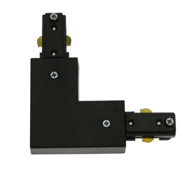 Διφασικός Connector 3 Καλωδίων Συνδεσμολογίας Ελ (L) για Μαύρη Ράγα Οροφής GloboStar 93134