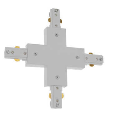 Διφασικός Connector 3 Καλωδίων Συνδεσμολογίας Cross (+) για Λευκή Ράγα Οροφής GloboStar 93135